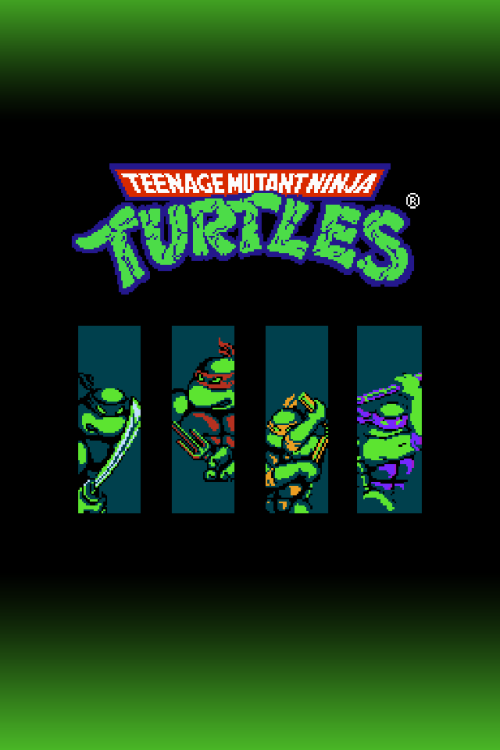 An iPhone wallpaper for the 8 bit NES video game Teenage Mutant Ninja 500x750