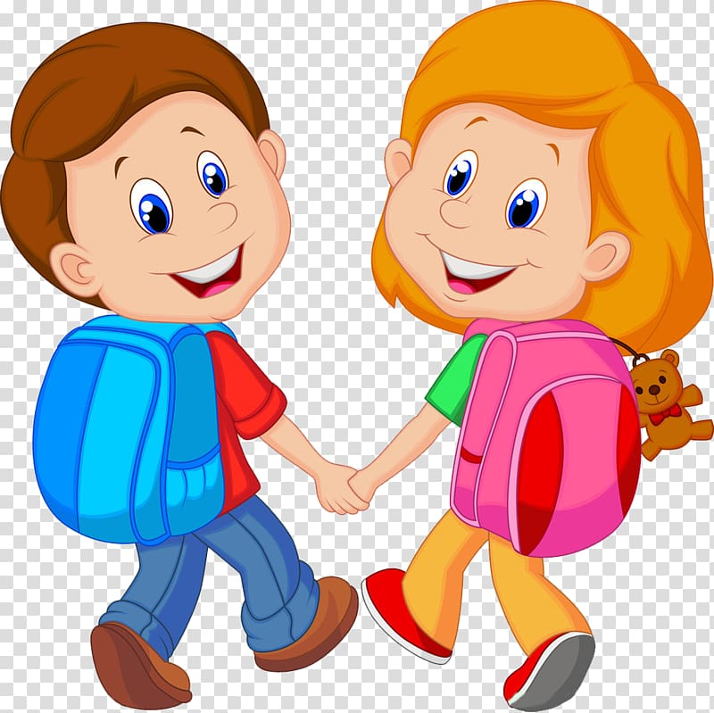download Boy and girl with backpacks Backpack Child 800x799