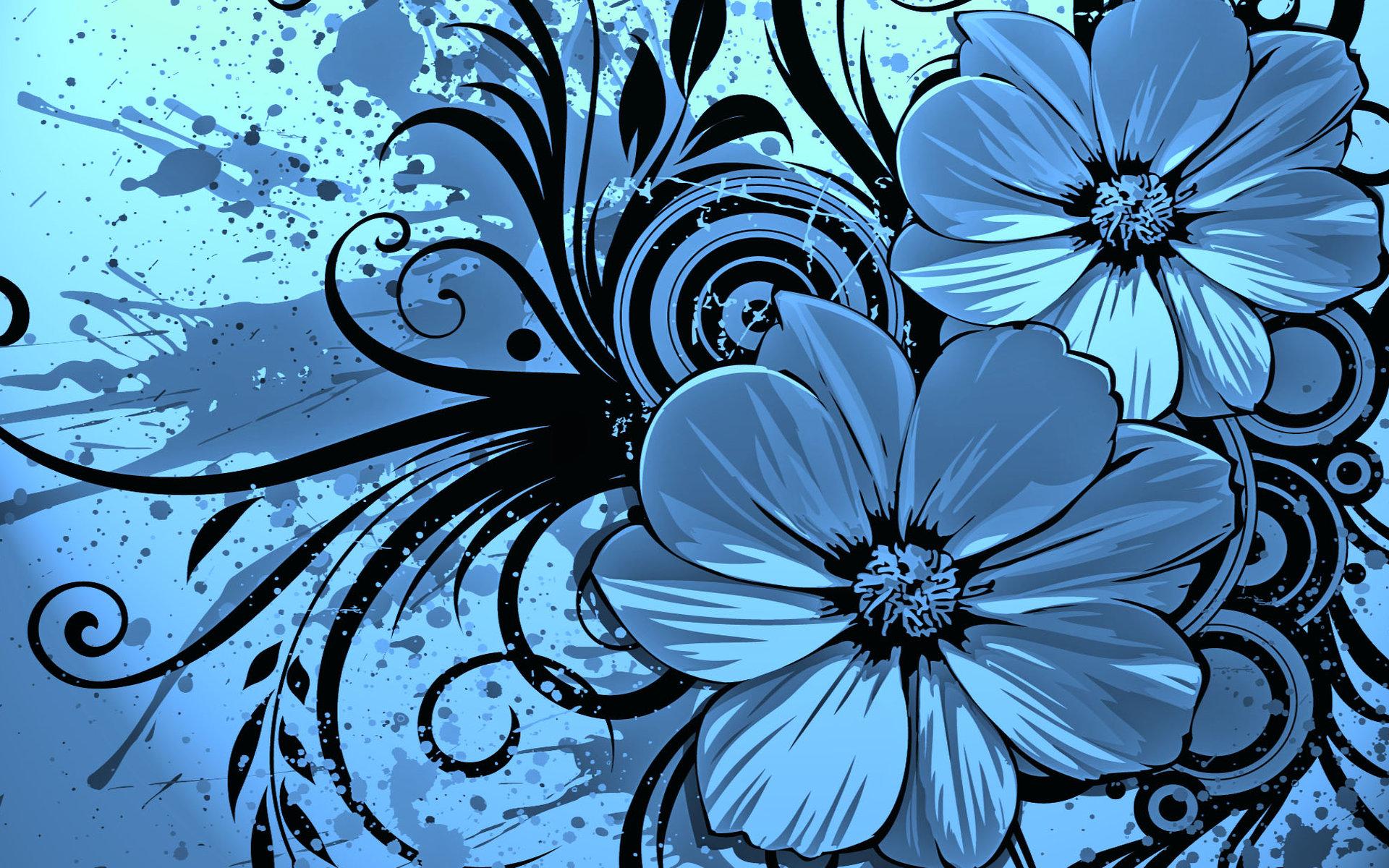 Vector Flower Blue Wallpaper HD wallpapers   Vector Flower Blue 1920x1200