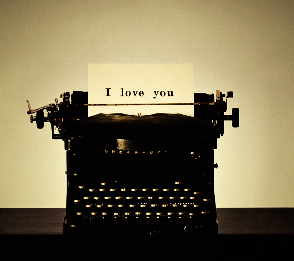 Old School I Love You Typewriter Tablet Phone Wallpaper Background 960x854