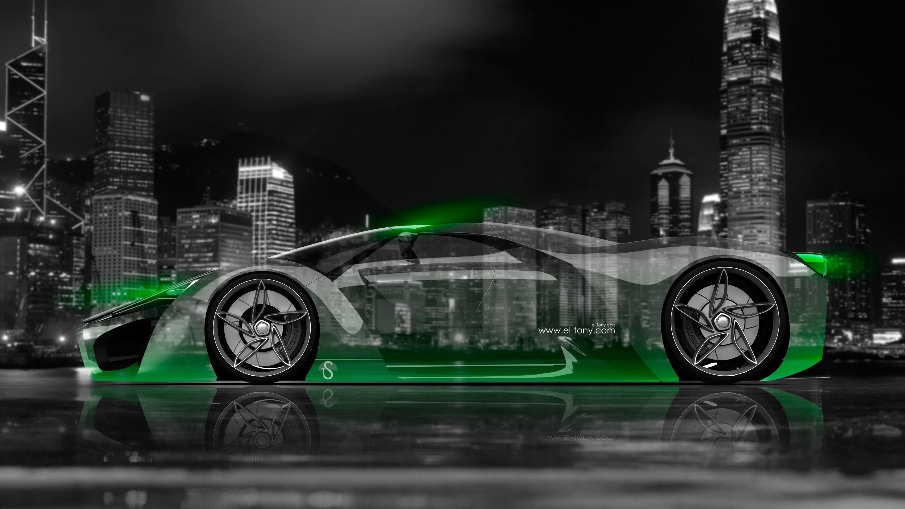 Ferrari F80 Side Crystal City Car 2014 Green Neon 4K Wallpapers design 3840x2160