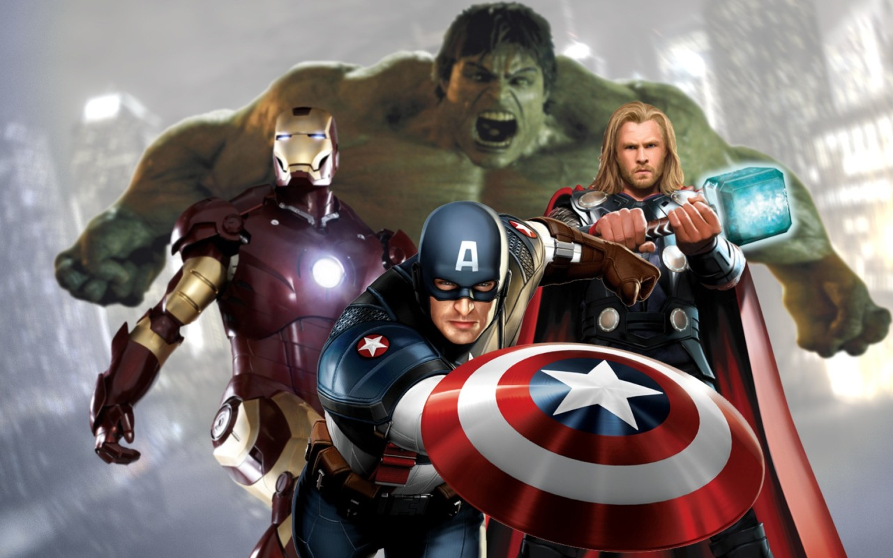 The Avengers 2012 Hulk Captain America Iron Man and Thor 1280x800