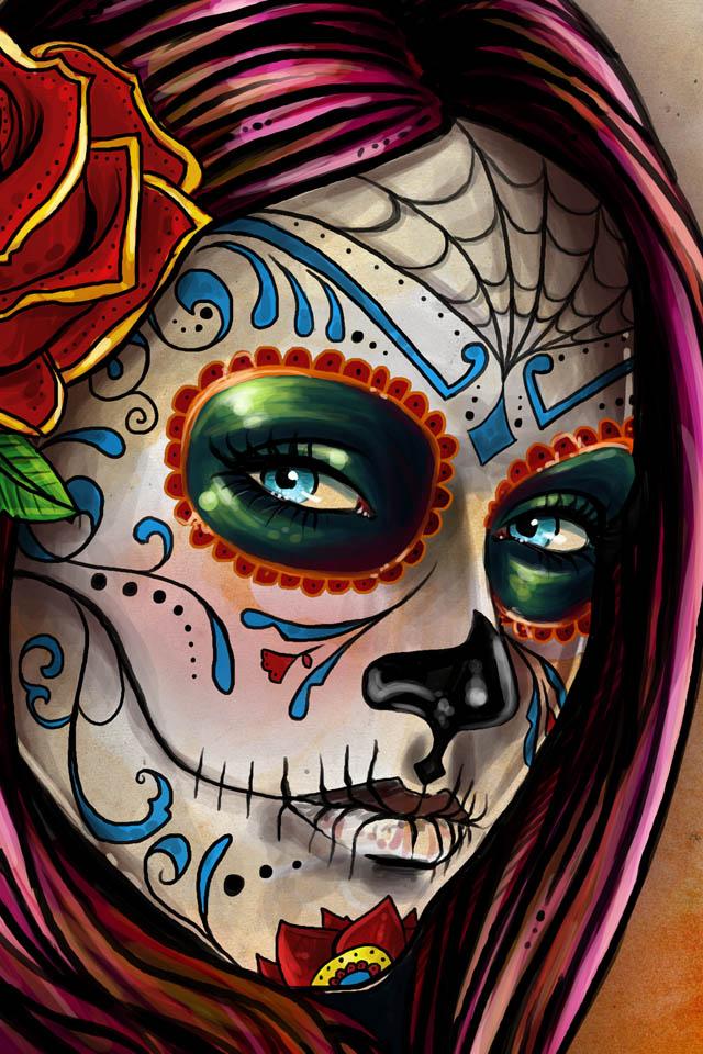 mexican skull girl iPhone Wallpapers designed by Leonardo Paciarotti 640x960