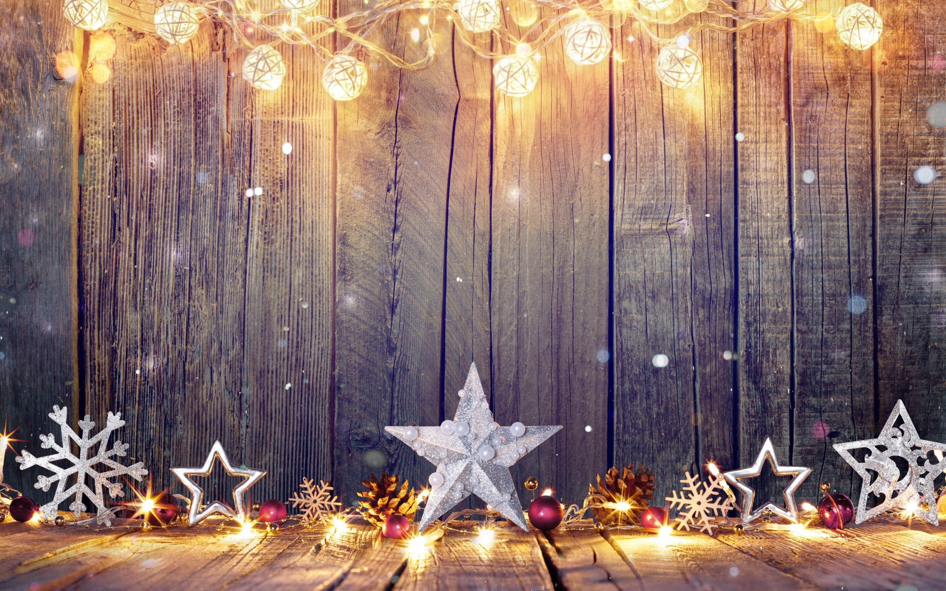 Merry Christmas Stars Decorations In Wall Wallpaper 11660   Baltana 1920x1200