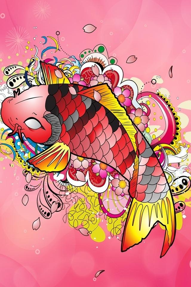 Koi wallpaper for iphone wallpapersafari for Pink koi fish
