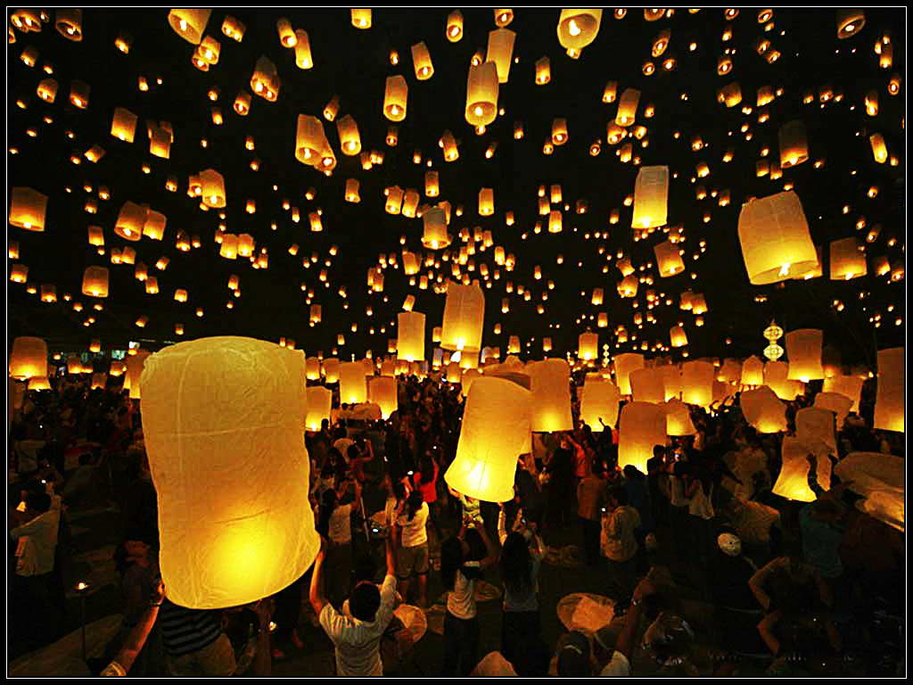 Amazing Thailand Wallpapers Lantern Festival 1024x768