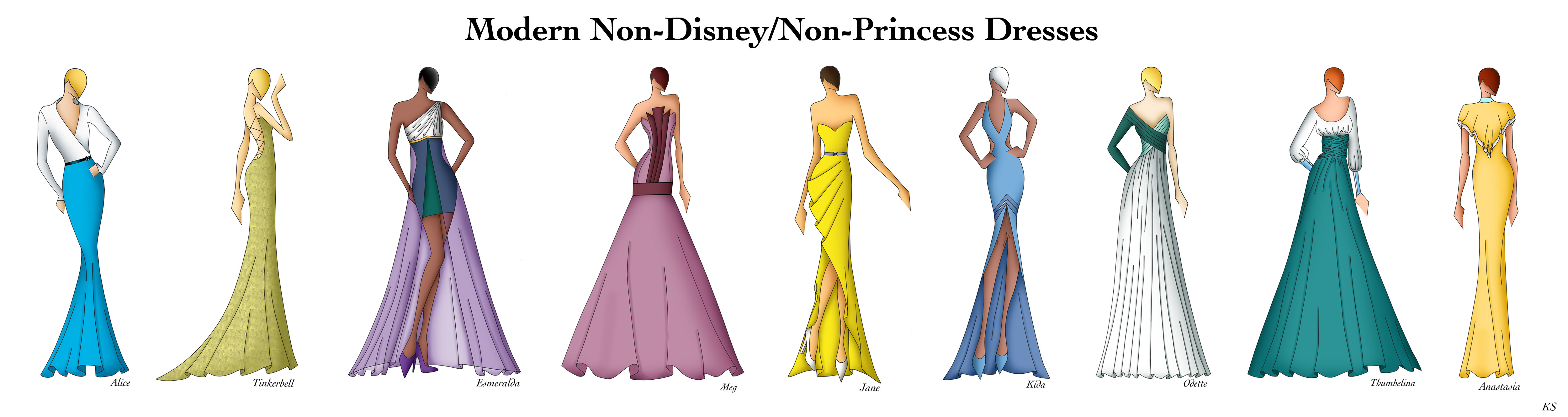 Modern Non DisneyNon Princess Dresses by Ellevira 5000x1328