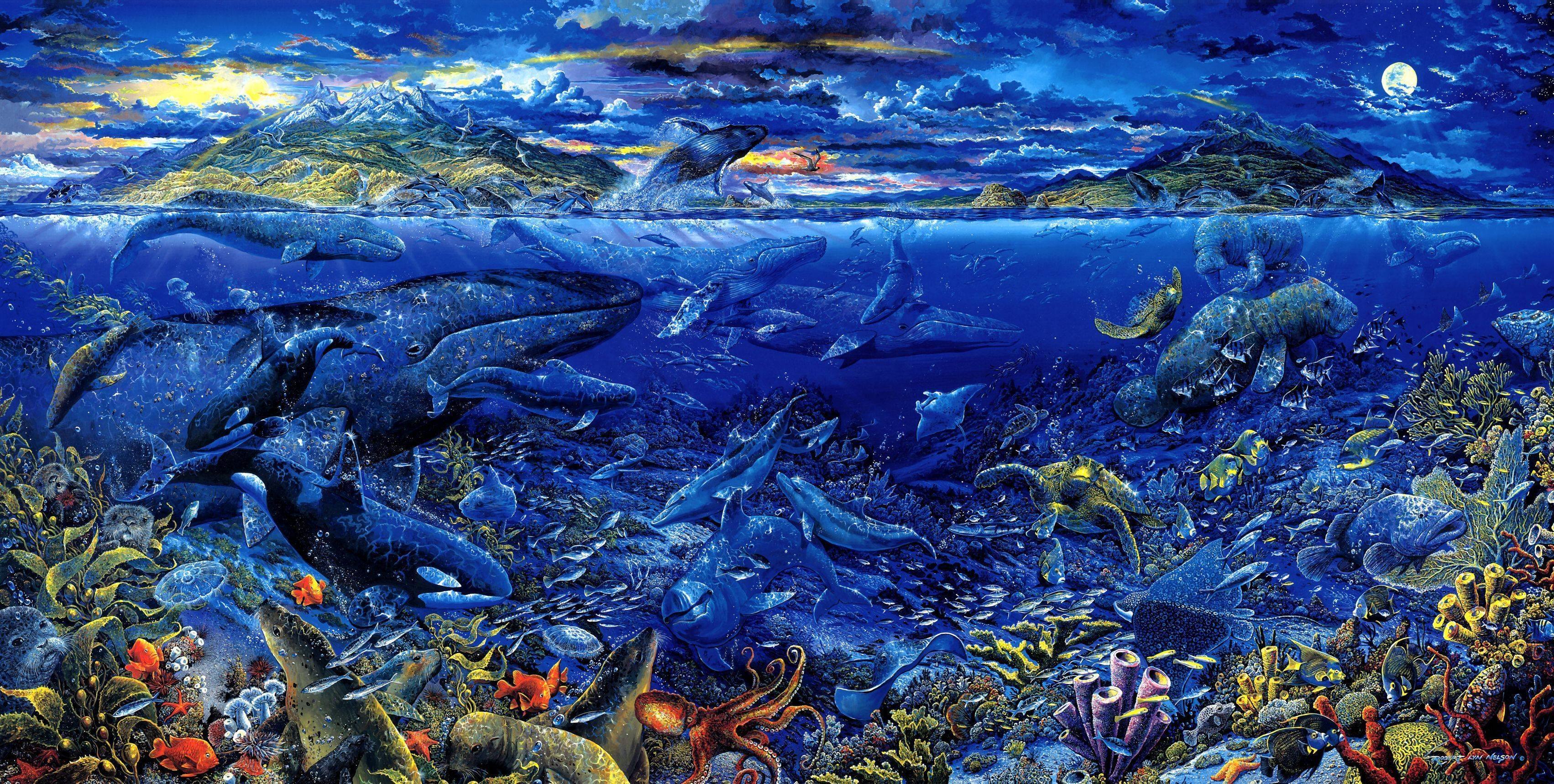 Animal   Sea Life Artistic Whale Fish Ocean Sea Fantasy Wallpaper 3405x1718