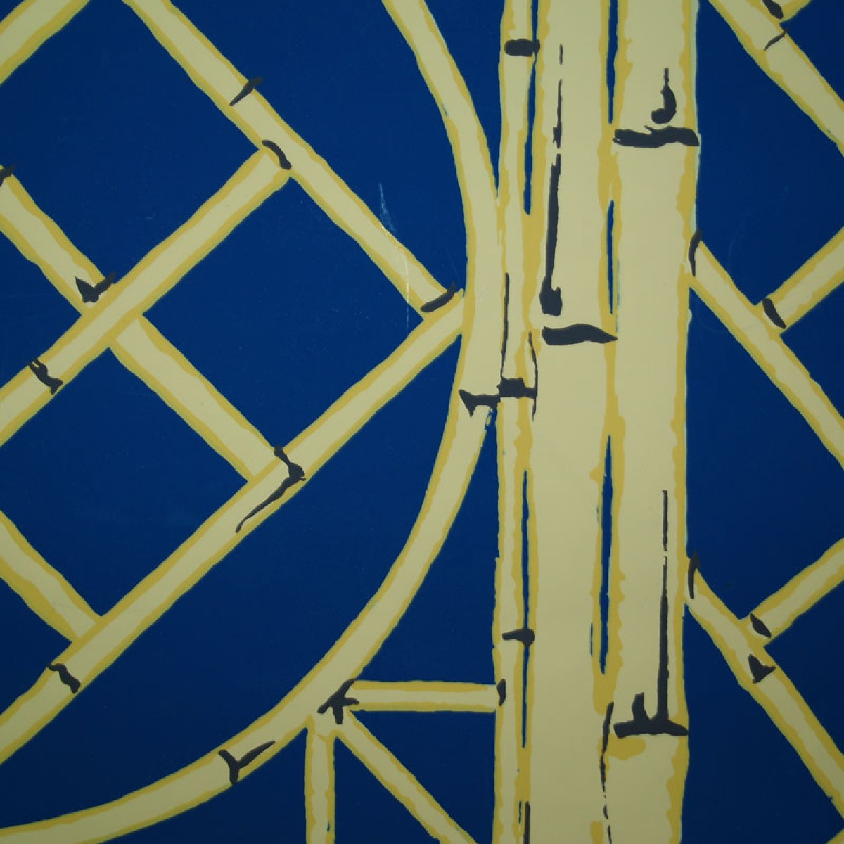 Shop Blue and Yellow Chinese Lattice Wallpaper 1200x1200