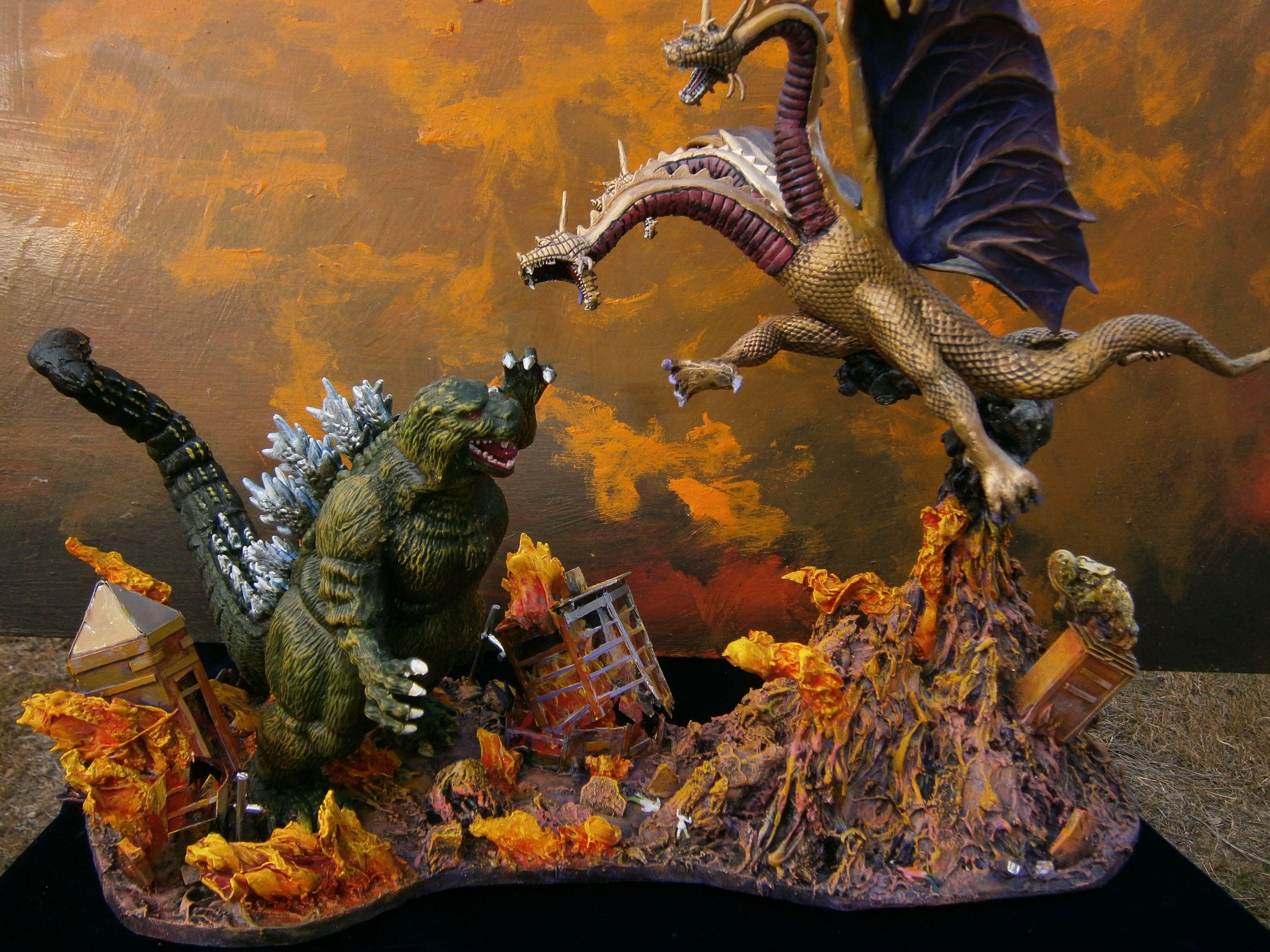 Godzilla vs King Ghidorah 4k Ultra HD Wallpaper Background 4288x3216