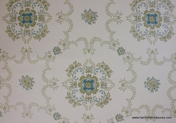 1940s Vintage Wallpaper Blue White and Green Geometric design 570x397