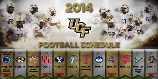 2014 2015 UCF Football Schedule University of Central Florida Pin 520x260