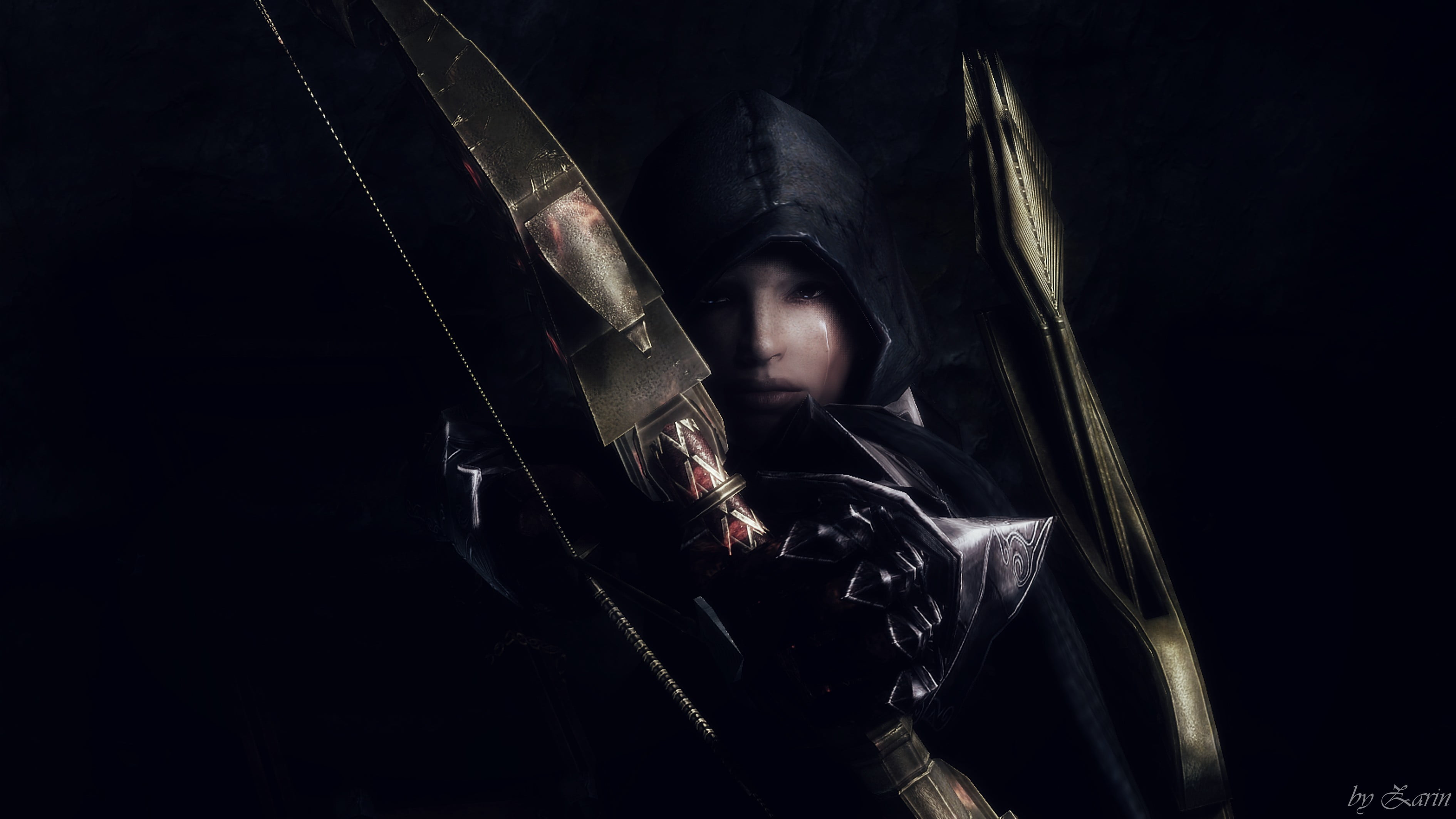 Person on black hoodie holding bow graphic wallpaper The Elder 3780x2126