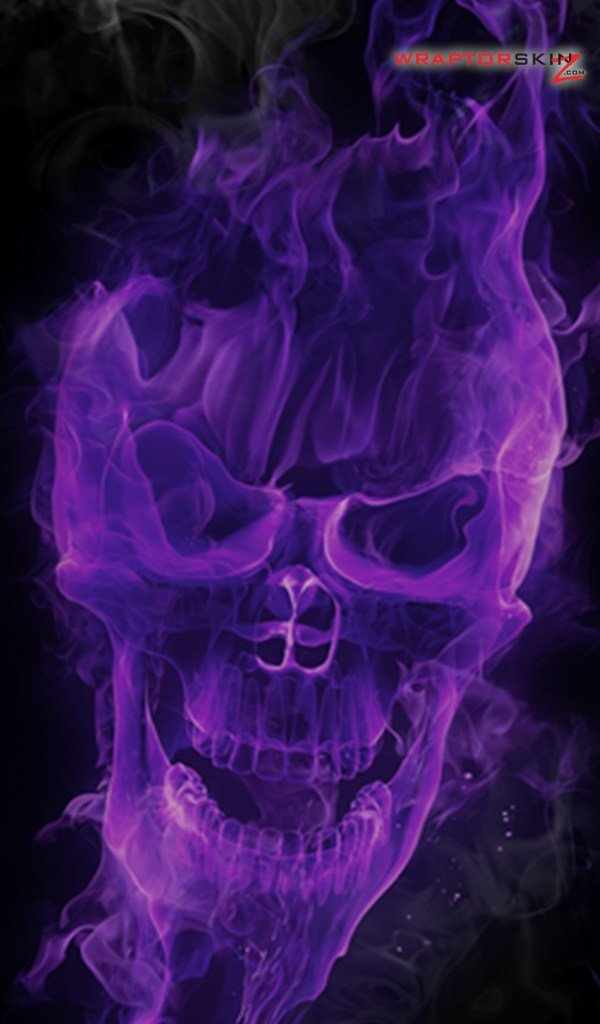 Kindle Fire Original Decal Style Skin   Flaming Fire Skull Purple 600x1024