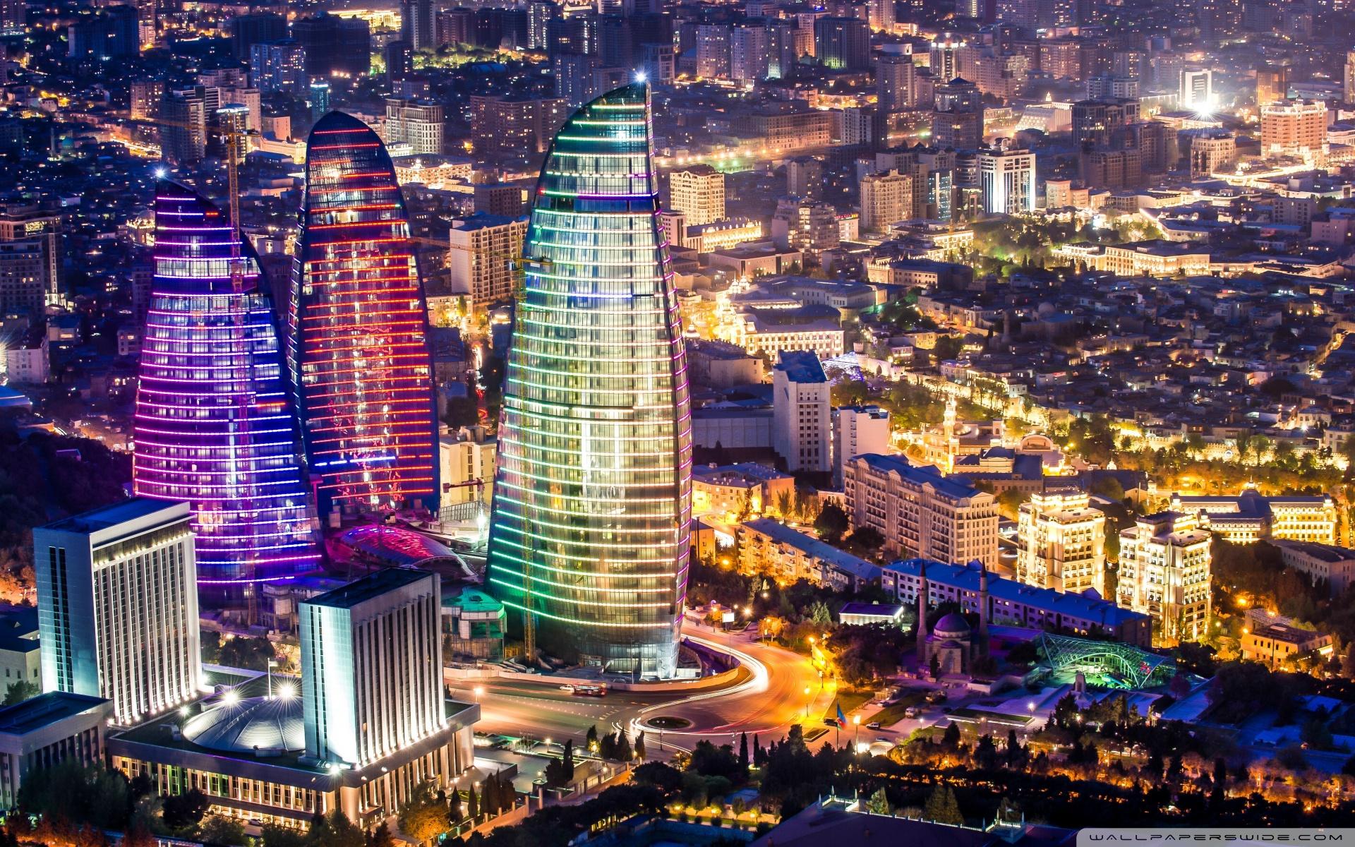 Flame Towers Baku Azerbaijan 4K HD Desktop Wallpaper for 1920x1200