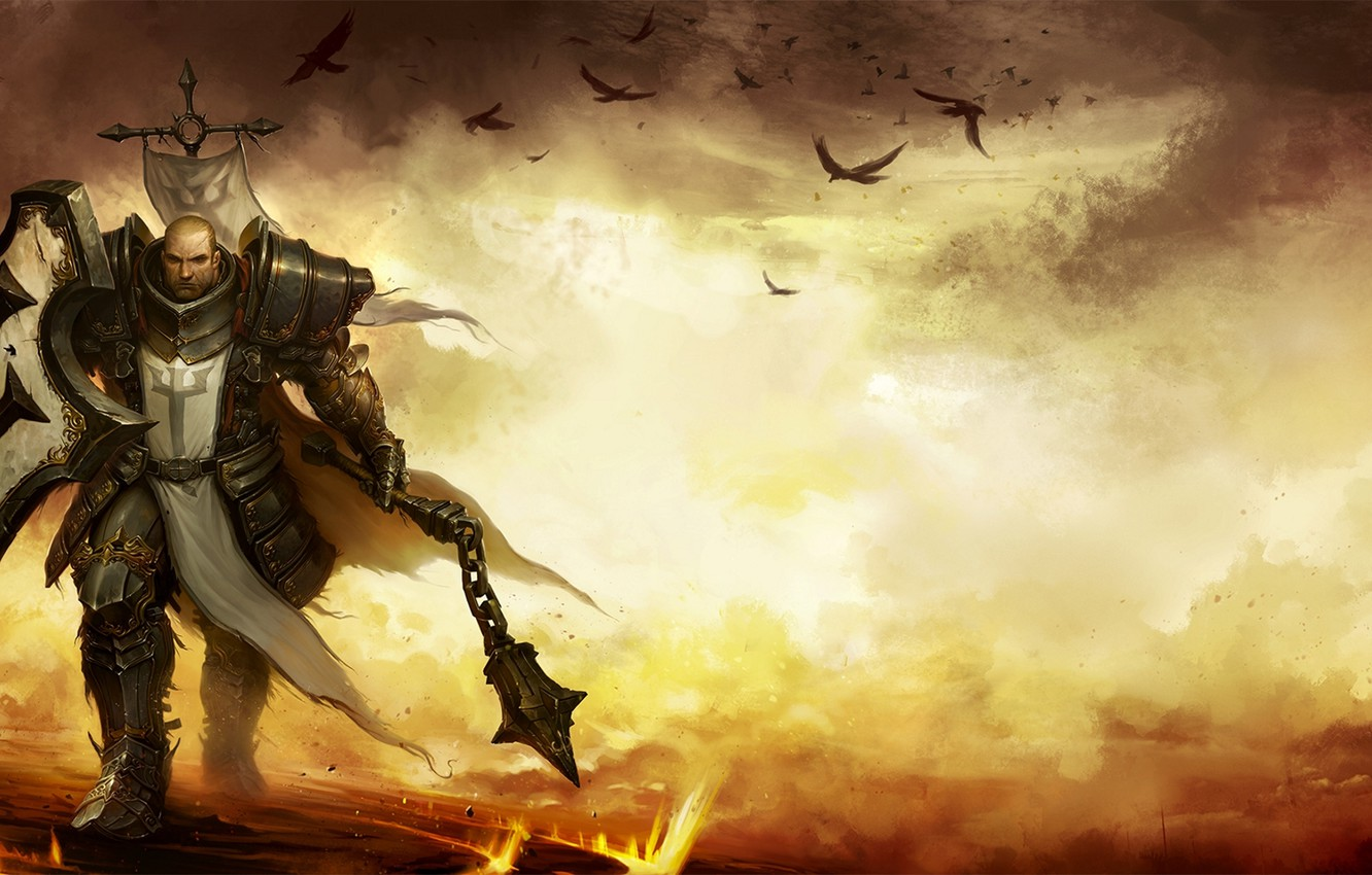 Wallpaper crows battlefield shield knight Mace battlefield 1332x850