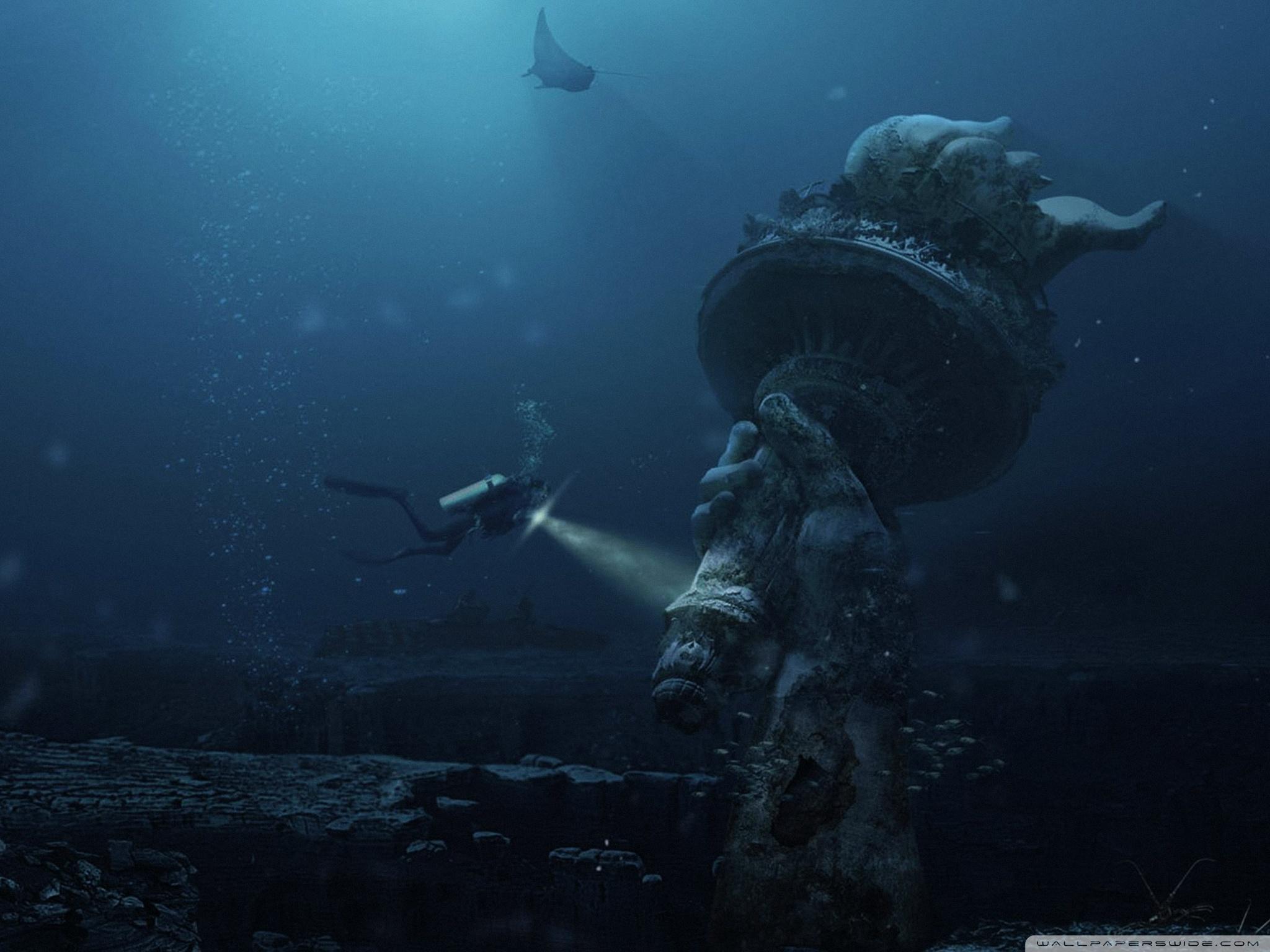 Underwater Ruins 4K HD Desktop Wallpaper for 4K Ultra HD TV 2048x1536