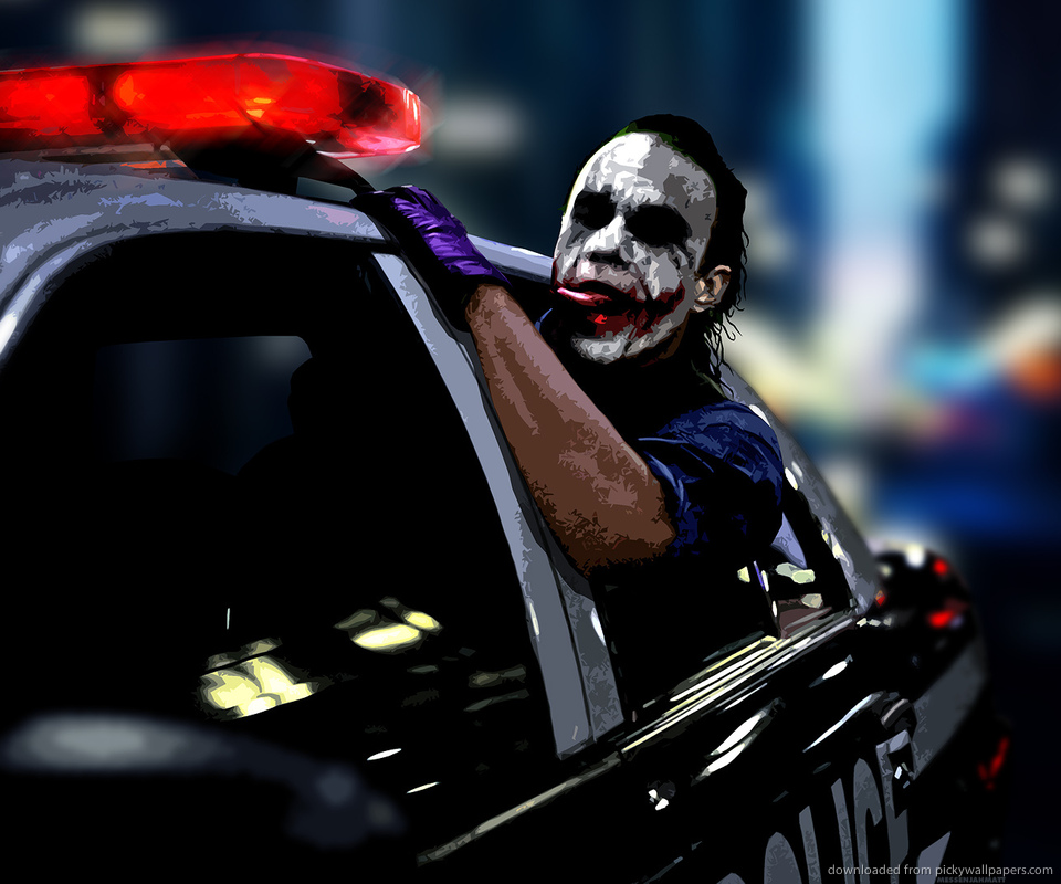 Download Joker Driving In A Police Car Wallpaper For Samsung Epic 960x800