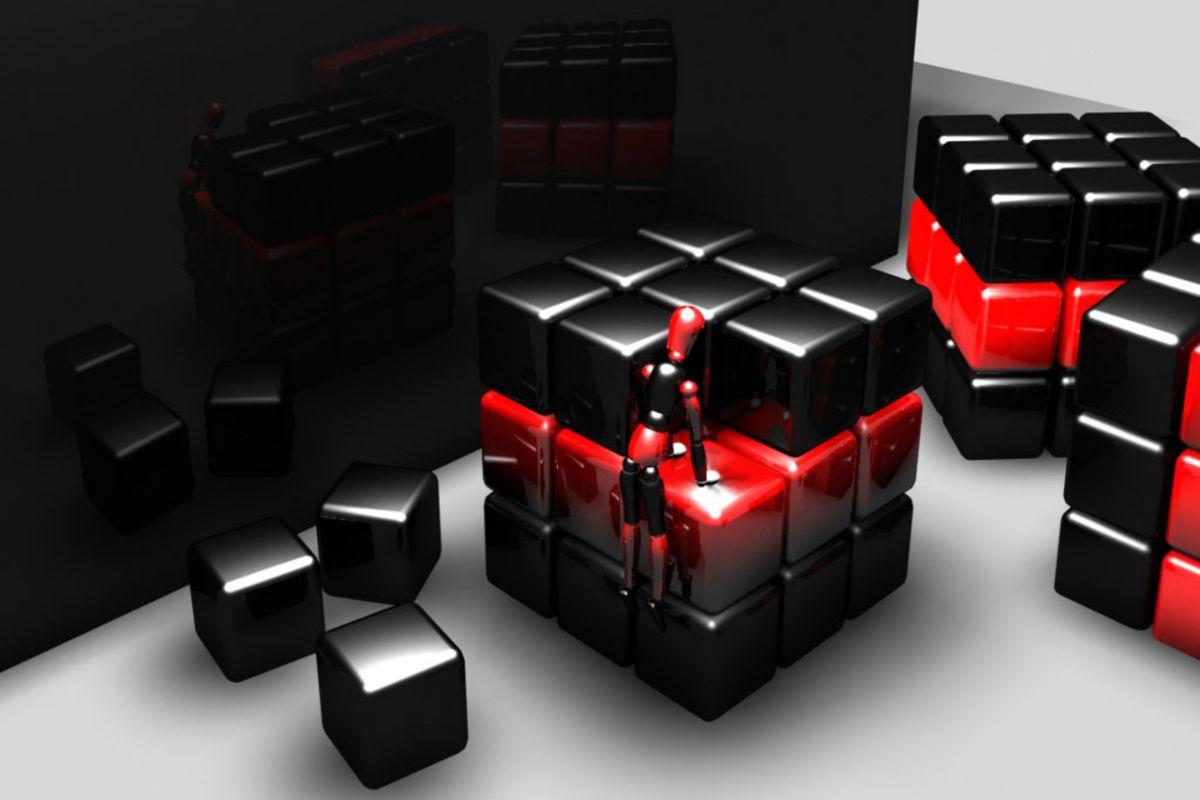 3D Cube Rubix 3D Scene wallpaper download 1200x800