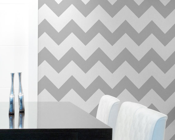 Stencil Large Stencil to Paint Chevron Stripes for a Wallpaper Look 570x456