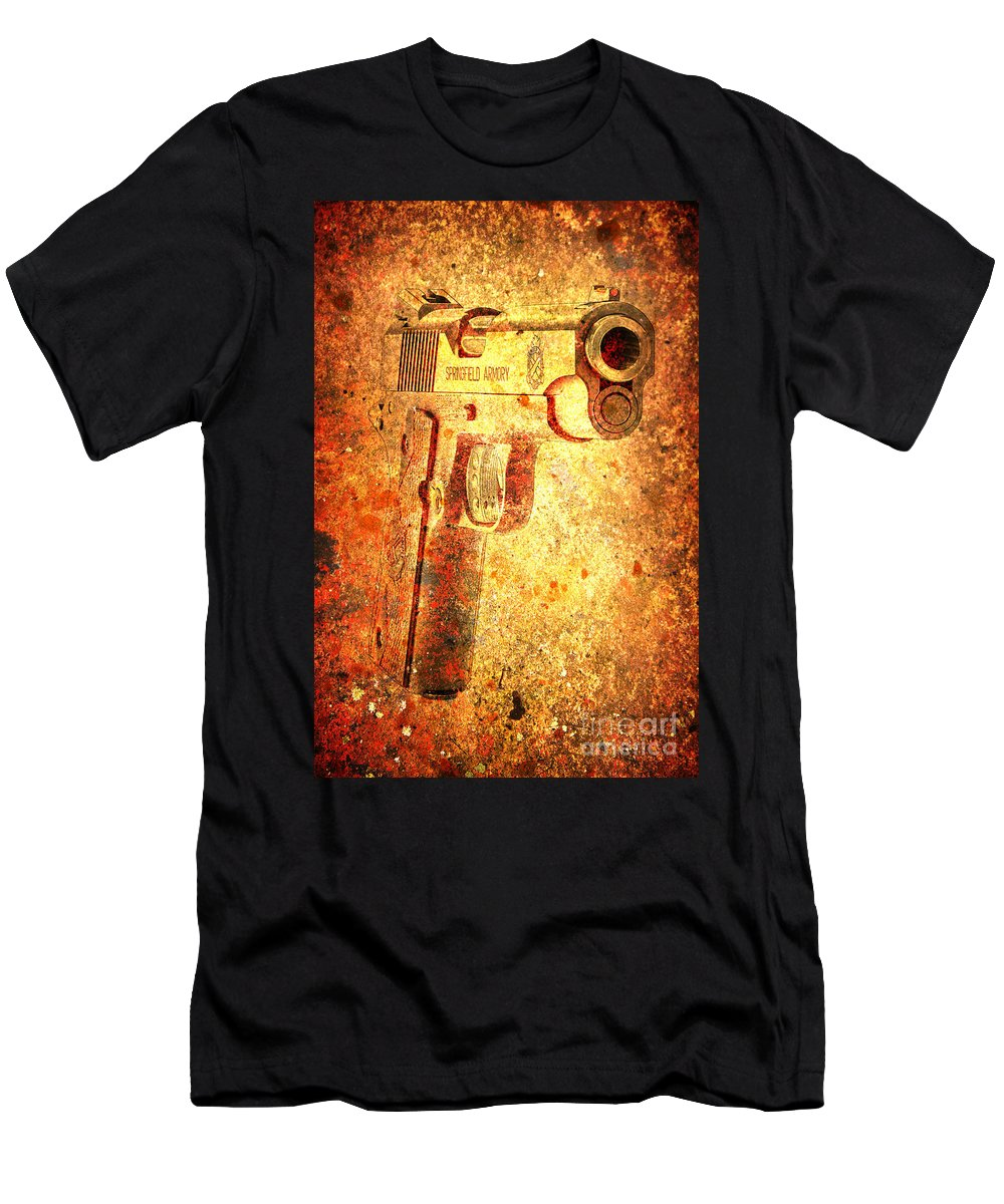 M1911 Muzzle On Rusted Background 34 View T Shirt for Sale by M L C 1000x1200