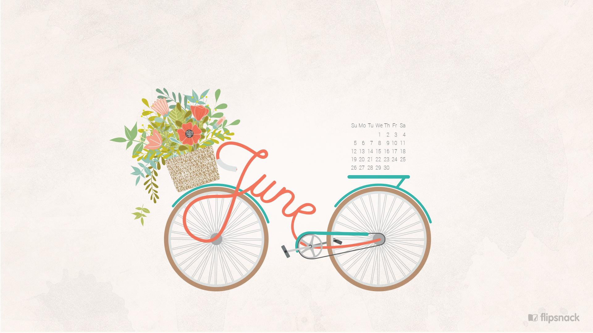 June 2016 calendar wallpaper desktop background 1920x1080