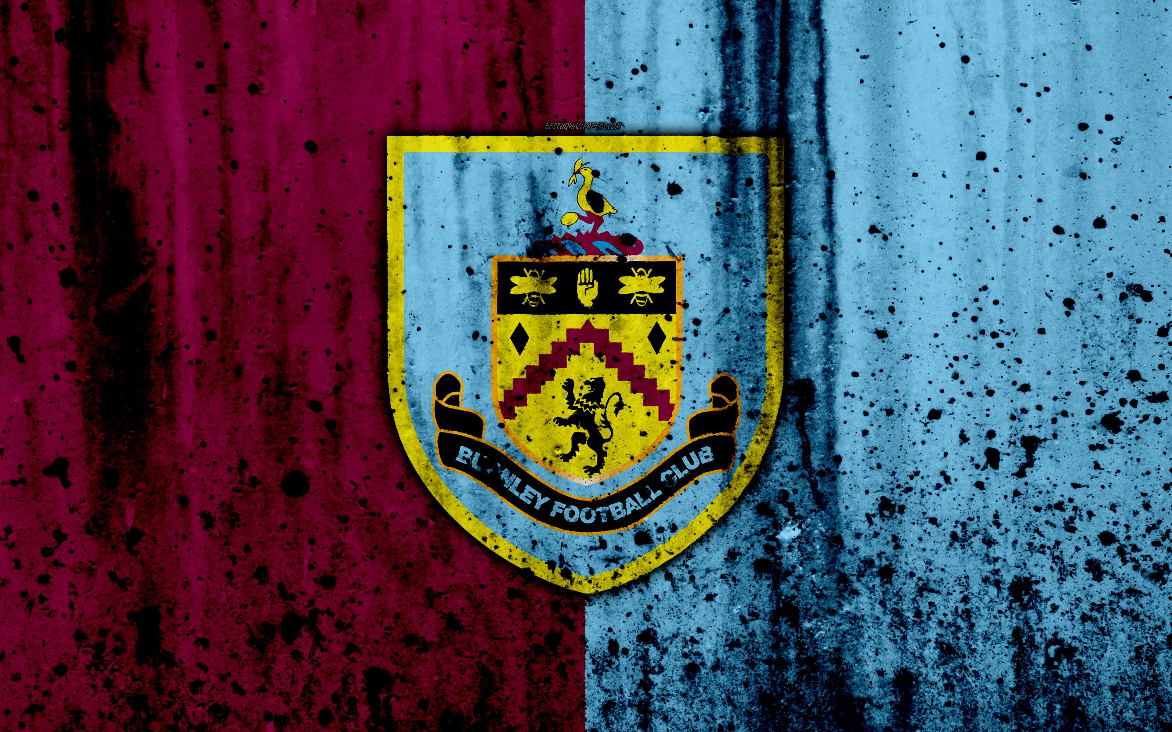 Download wallpapers FC Burnley 4k Premier League logo England 3840x2400