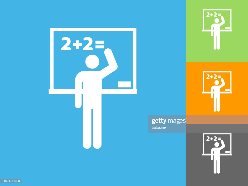 School Whiteboard Flat Icon On Blue Background Vector Art Getty 1024x768