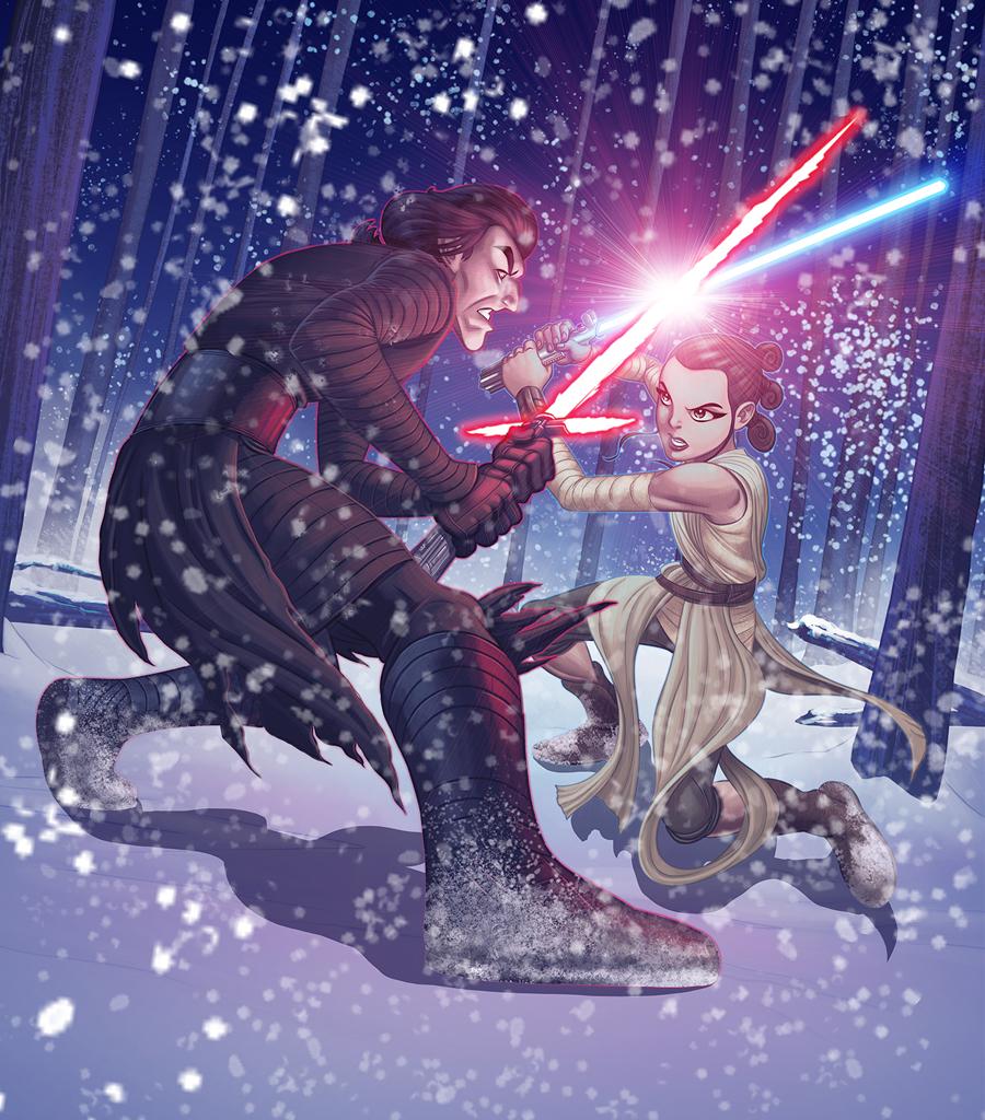 Kylo Ren vs Rey by MBorkowski 900x1024
