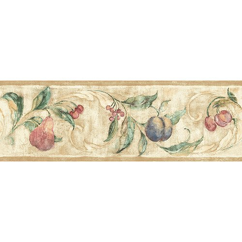 Blue Mountain Fruit Symphony Wallpaper Border Beige with White Border 500x500