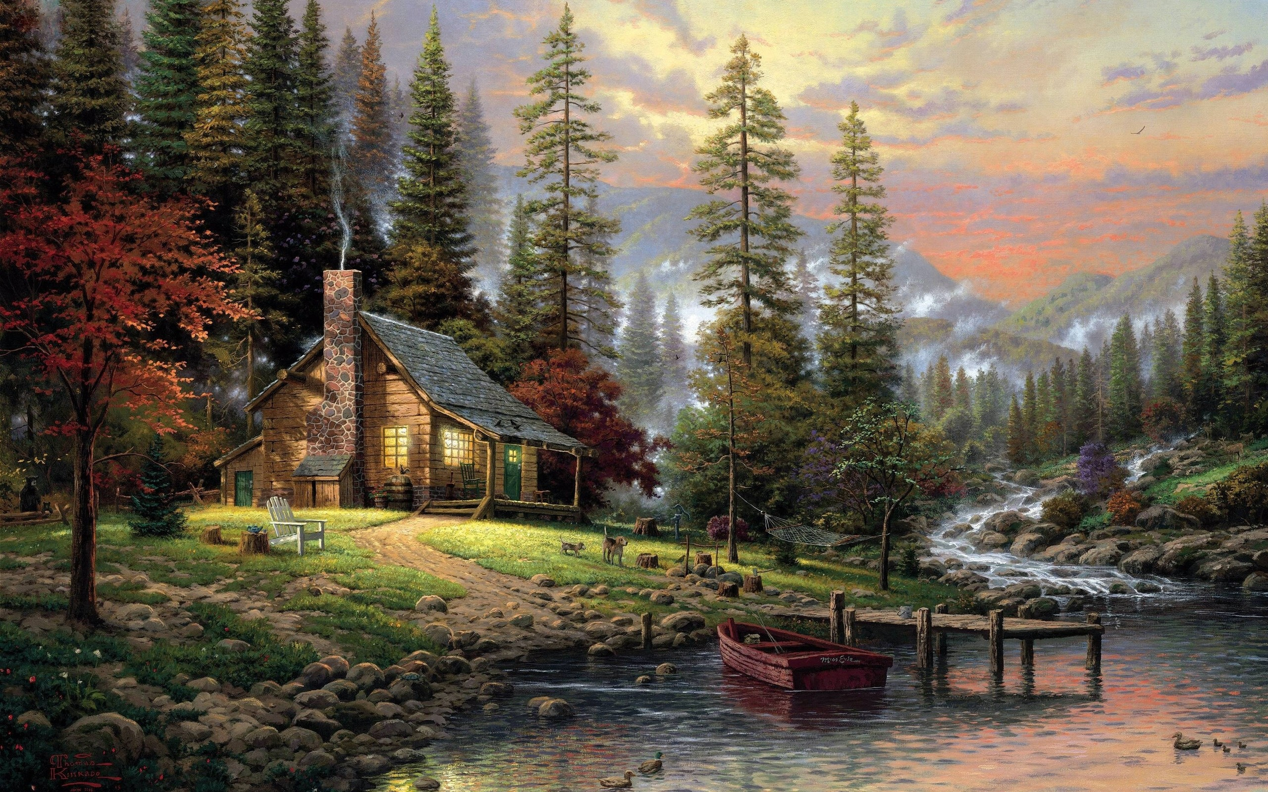 paintings landscapes trees forest houses artwork thomas kinkade rivers 2560x1600