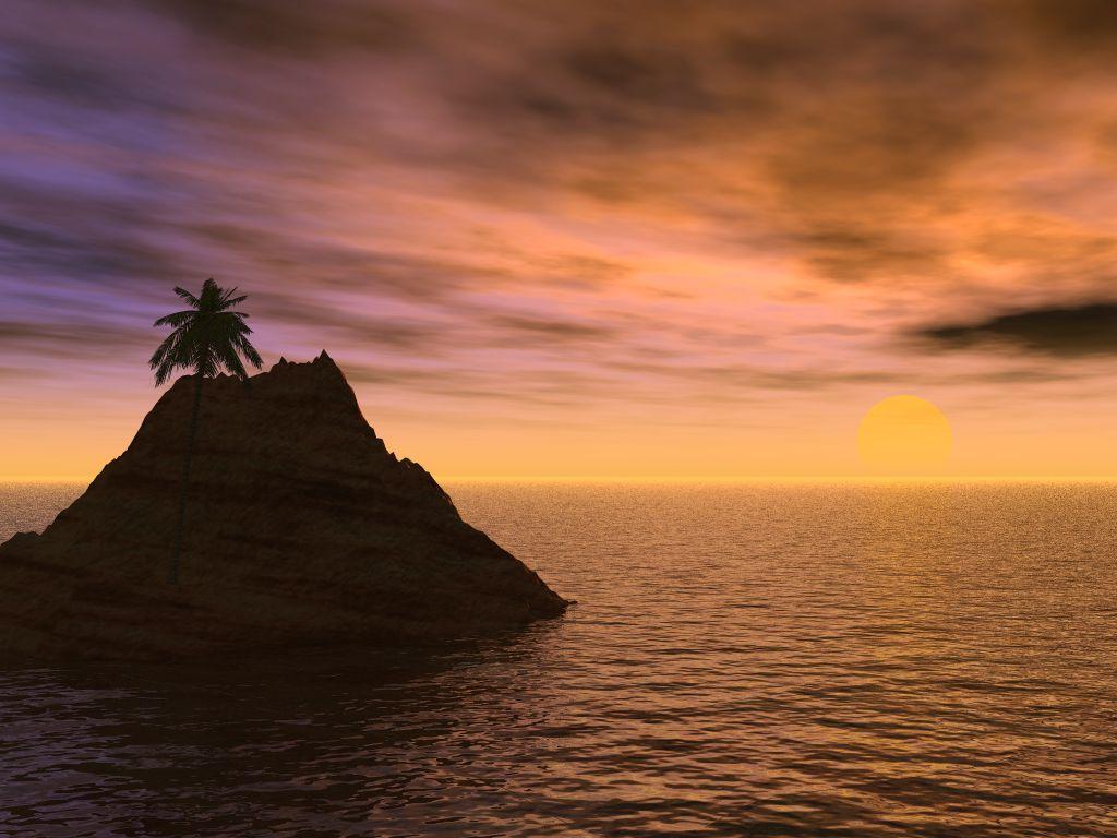 3D Wallpapers   3D Desktop   3D Sunset   Moons   Sun   Bureaublad 1024x768