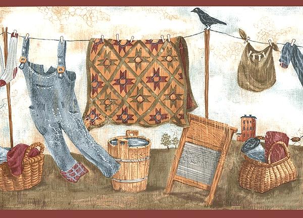 Clothesline Laundry Room Border Wallpaper 600x431