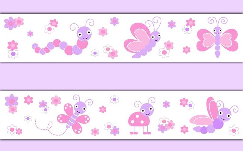 Butterfly Ladybug Dragonfly Wallpaper Border Wall Decal Girl Pink 800x497
