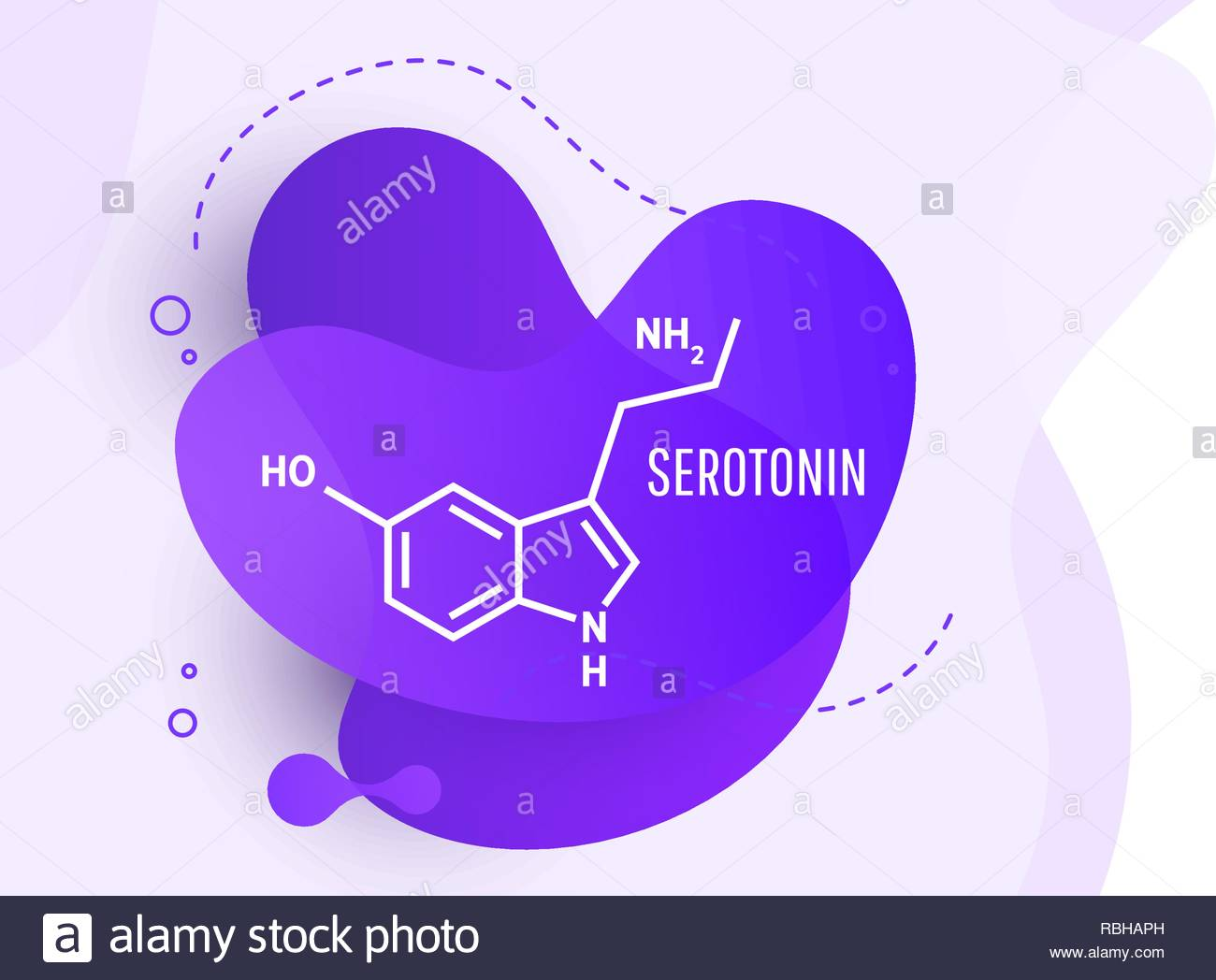 Serotonin hormone structural chemical formula on wave liquid 1300x1048