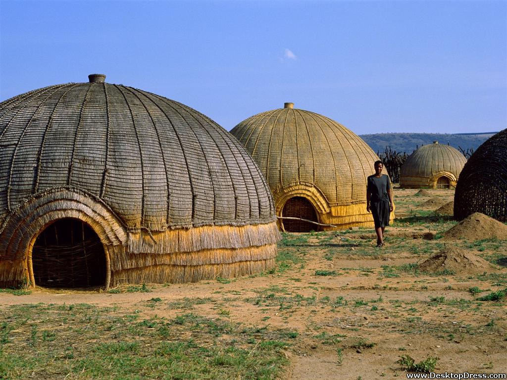Desktop Wallpapers Other Backgrounds Zulu Huts South Africa 1024x768