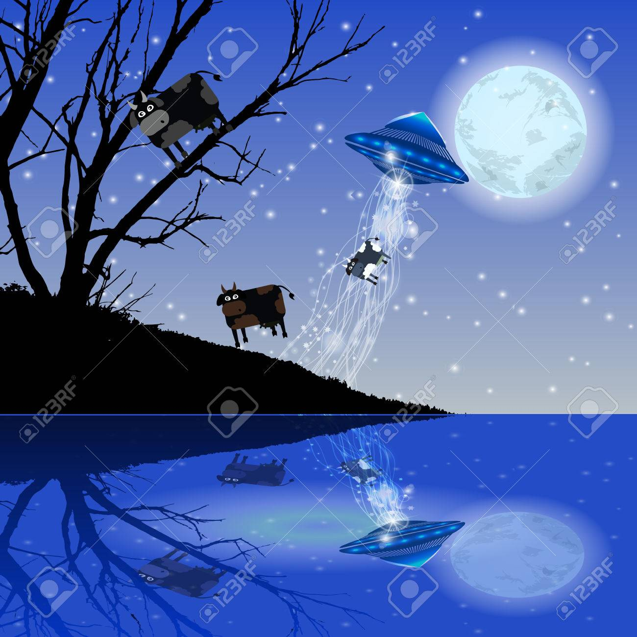 Cow Abduction UFO Night Moon Illustration Use Wallpaper For 1300x1300