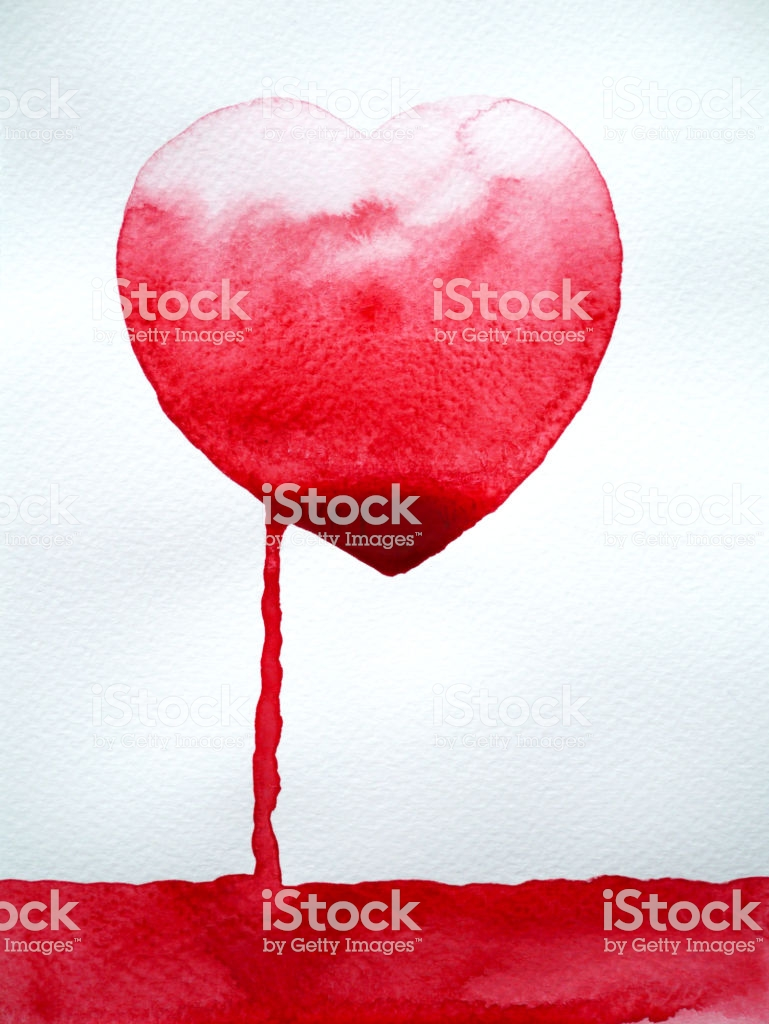 Red Heart Leak Out Drain Blood White Background Watercolor 769x1024