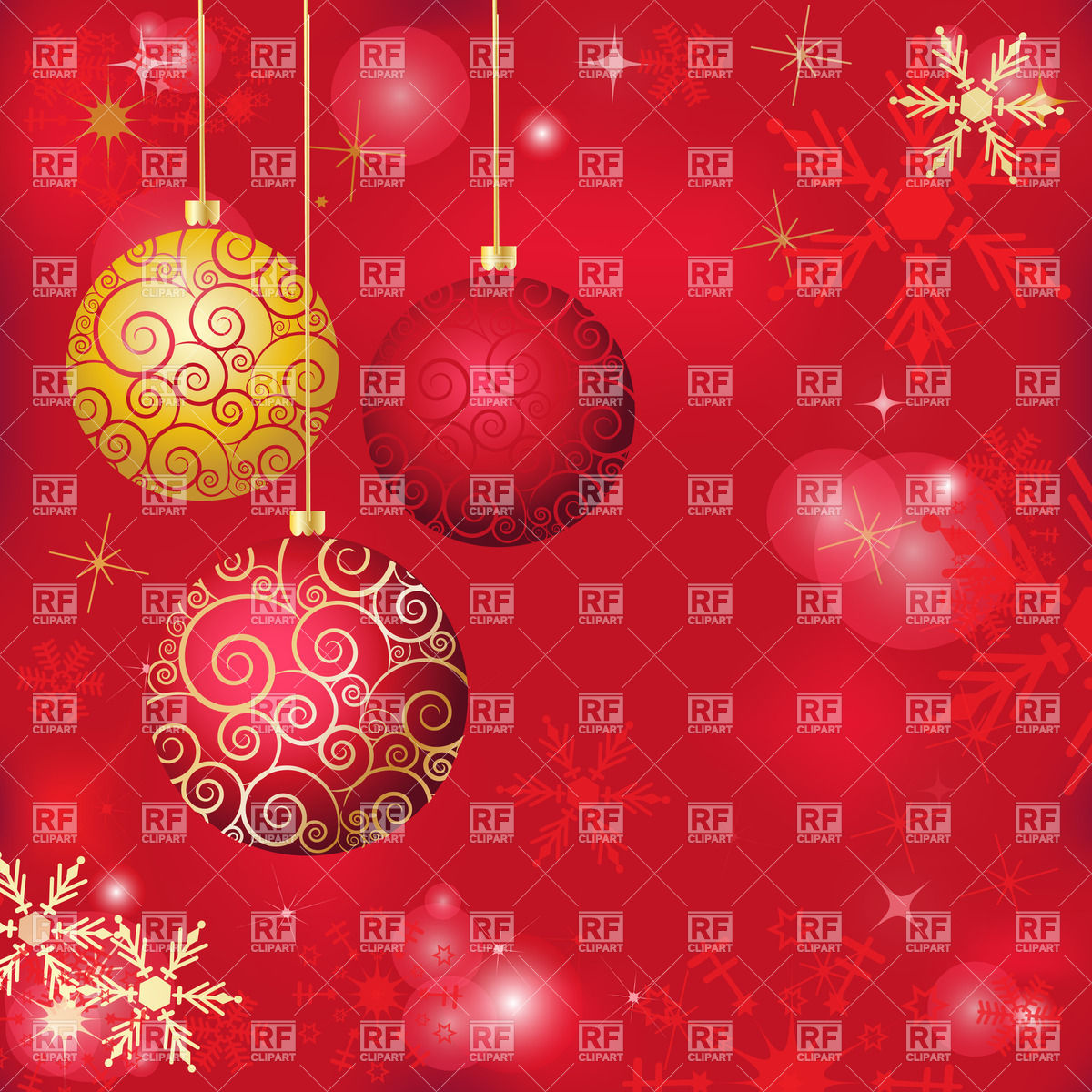Red holiday background with snowflakes and christmas balls Vector 1200x1200