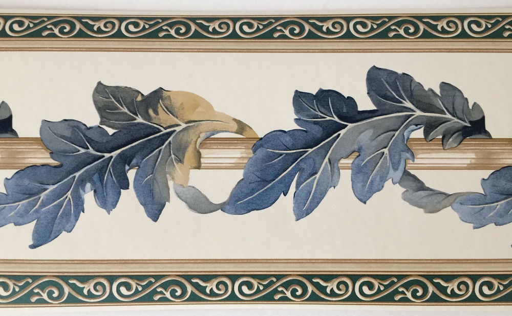 Acanthus Leaves Leaf Blue Beige Scroll Green Wallpaper Border eBay 1000x618