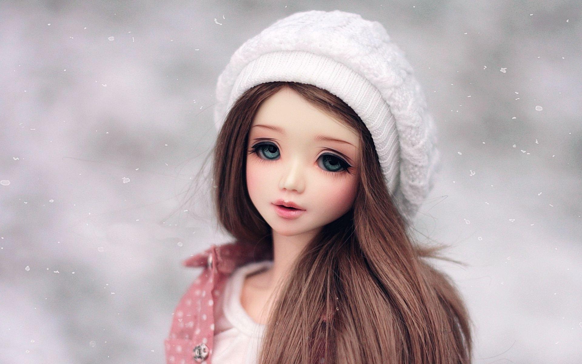 Long Hair Cute Barbie Doll in Winter Cap Full HD wallpaper Image Photo 1920x1200