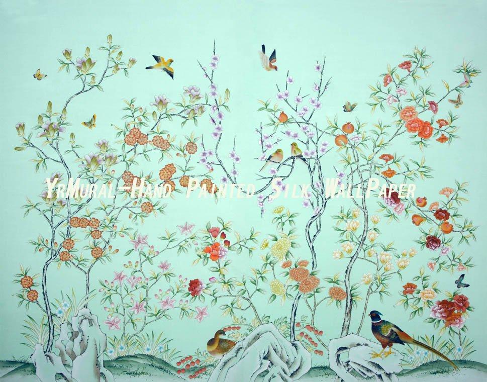 em Hand Painted Wallpaper Silk Wallpaper Chinoiserie Wallpaper 969x760