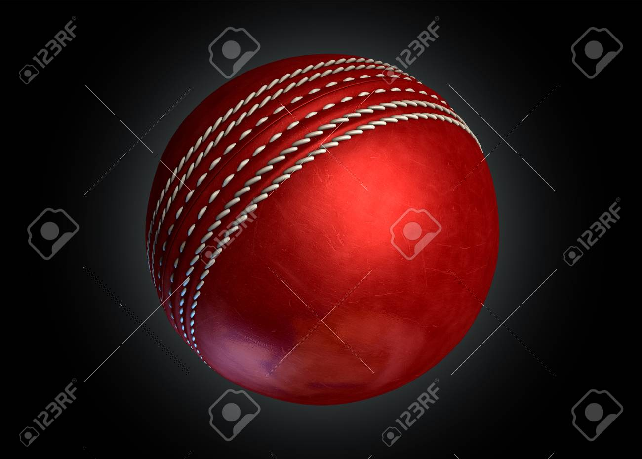 A Regular Red Leather Cricket Ball On An Isolated Dark Background 1300x930