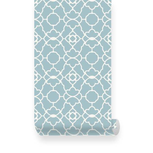Small Trellis Pattern Dusky Blue Removable Wallpaper   Peel Stick 500x500