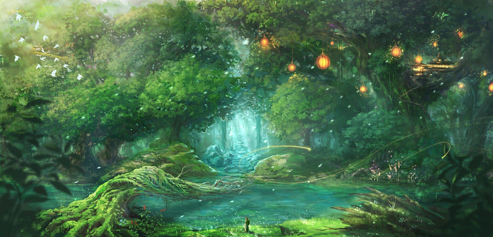 Original anime forest landscape wallpaper 1875x900 1875x900