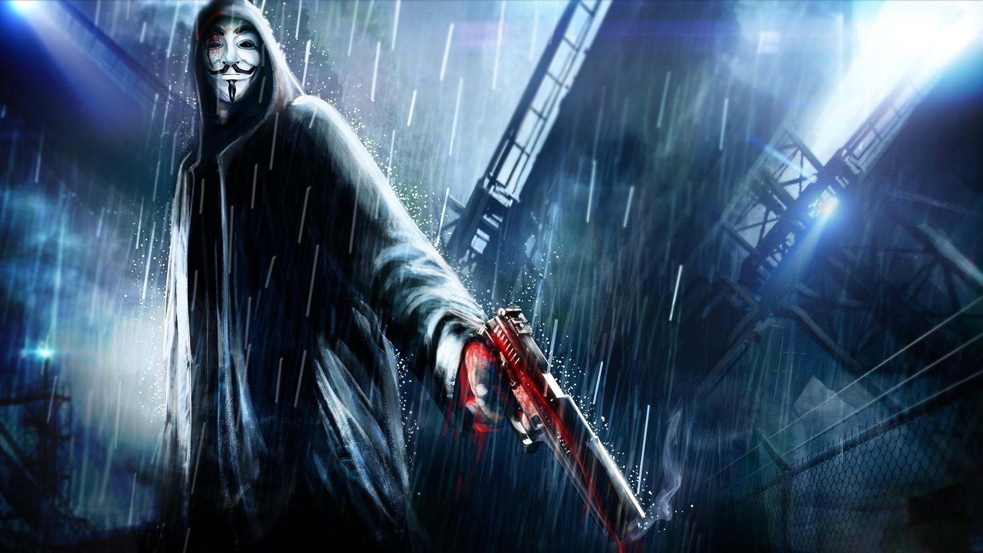 Anonymous 3d art anonymous blue general gun rain 1920x1080
