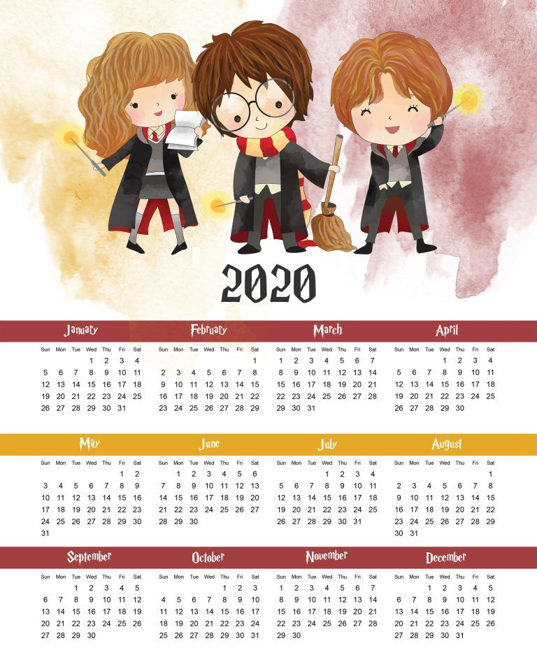 Printable 2020 Harry Potter One Page Calendar Harry potter 768x960