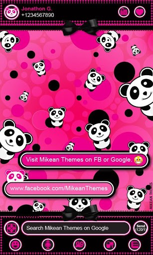 View bigger   Cute Pink Panda Theme 4 GO SMS for Android screenshot 307x512