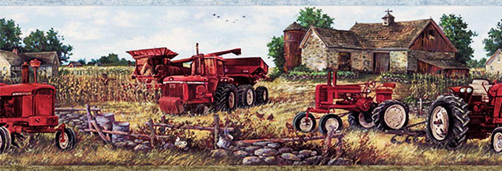 Farm Tractor and Barn Wallpaper Border CTR63161B   Borders 1000x342