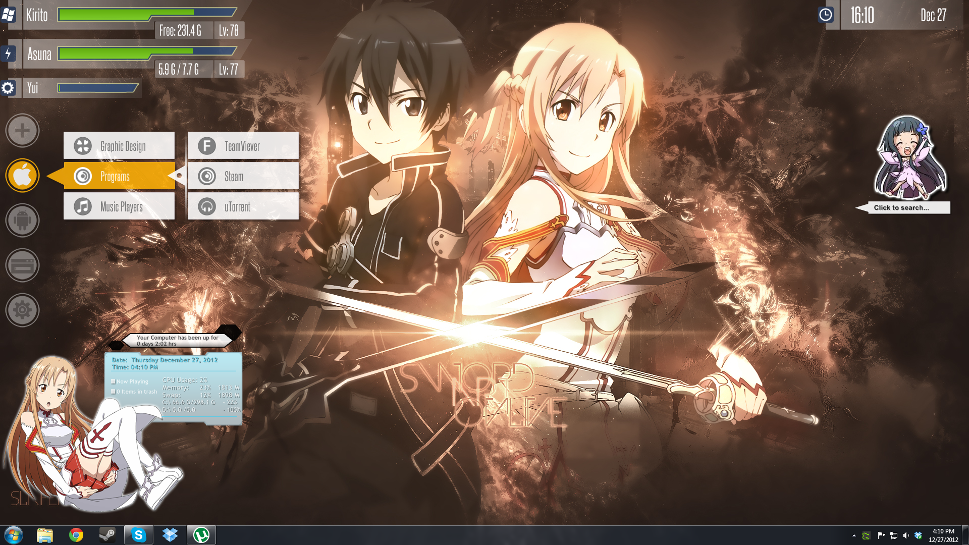SAO Rainmeter Wallpaper by skytotoro 1920x1080